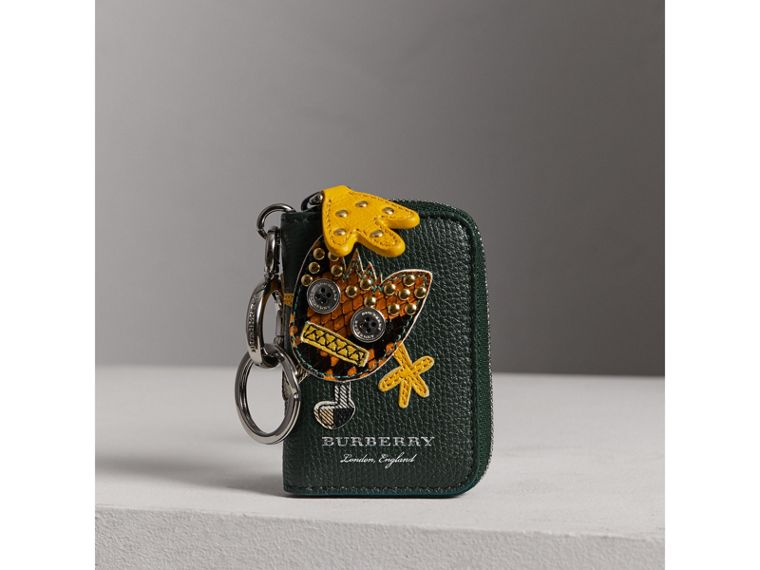 Creature Appliqué Leather Notebook Charm in Racing Green | Burberry - cell image 4