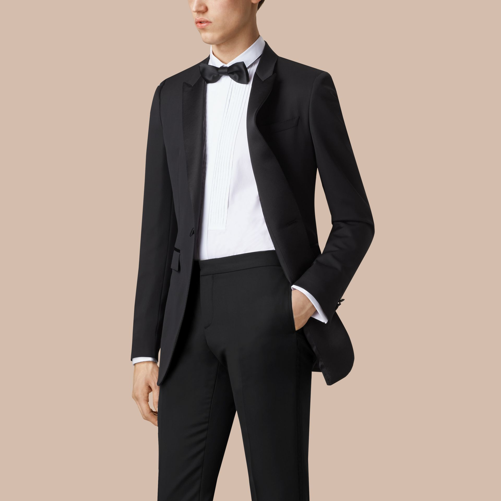 Satin Lapel Tuxedo Jacket Black - gallery image 1