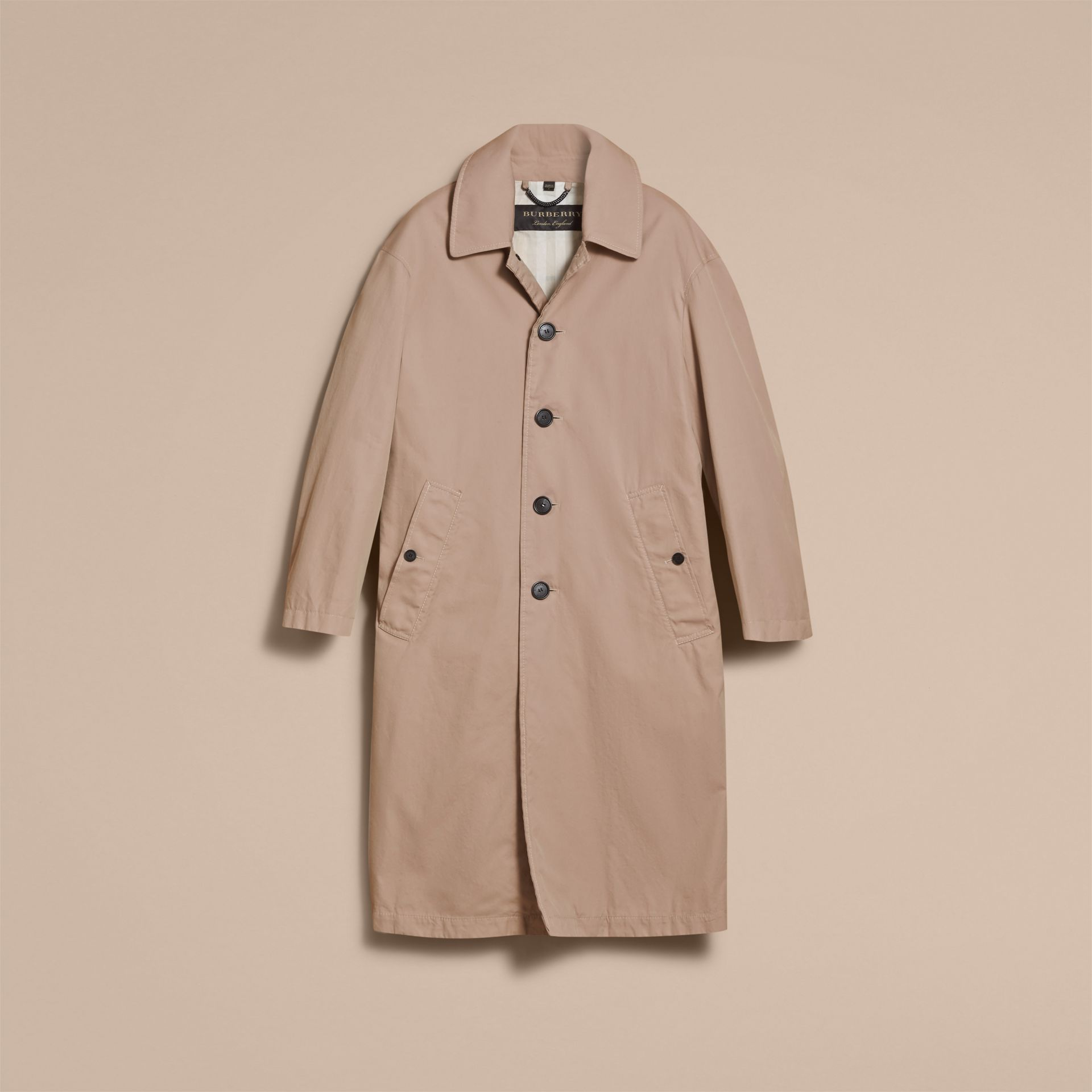 Unisex Tropical Gabardine Car Coat in Antique Taupe Pink - Women | Burberry - gallery image 4