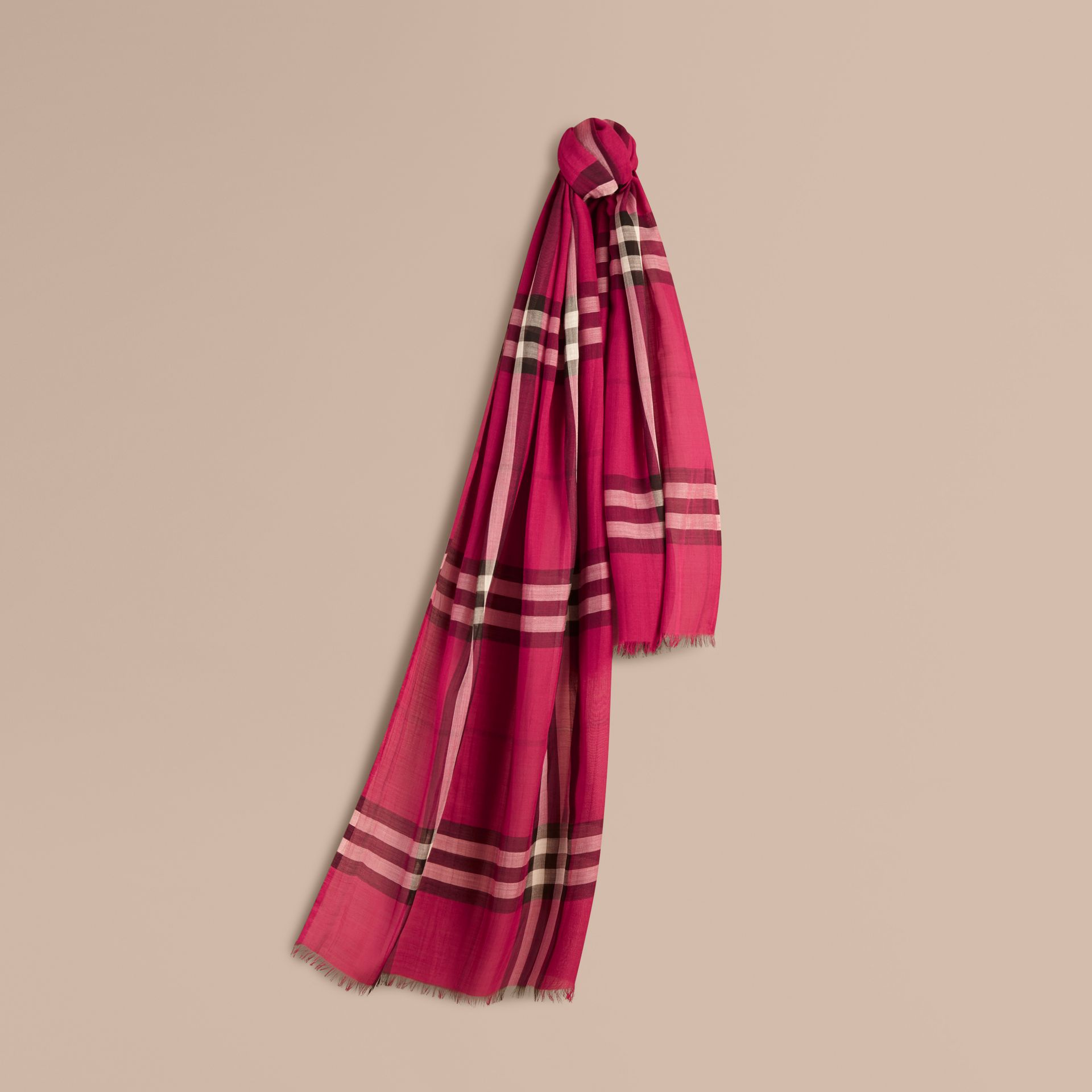 Lightweight Check Wool and Silk Scarf in Fuchsia Pink - gallery image 1