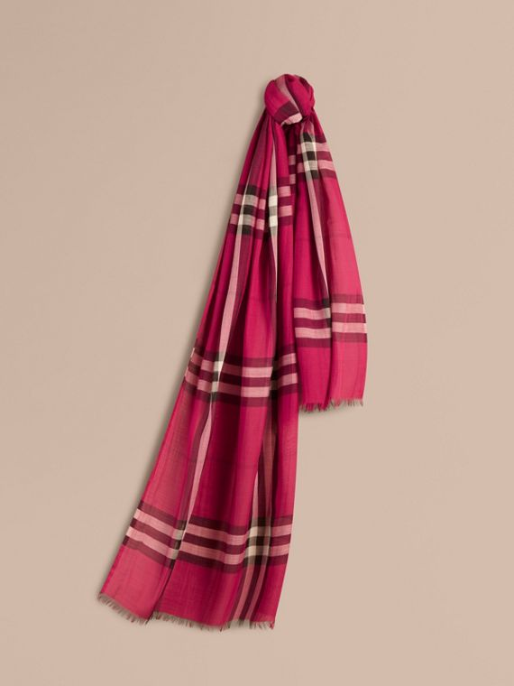 Lightweight Check Wool and Silk Scarf in Fuchsia Pink