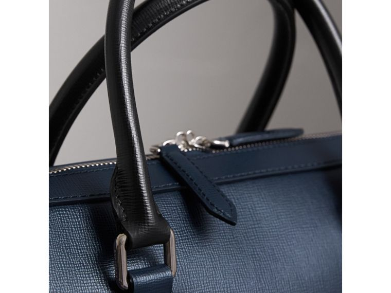 London Leather Briefcase in Dark Navy/black - Men | Burberry - cell image 1