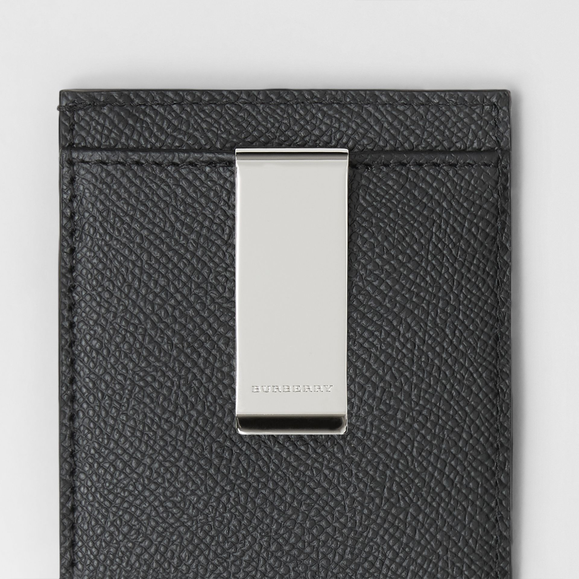 Grainy Leather Money Clip Card Case in Black - Men | Burberry United States - gallery image 1