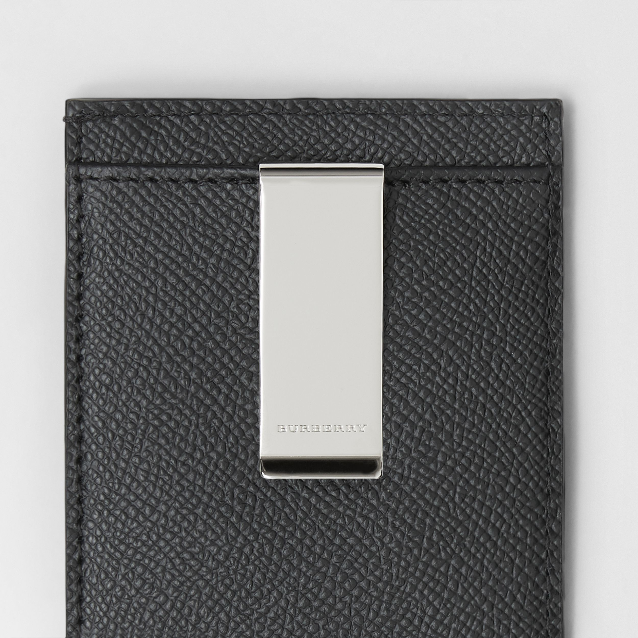 Grainy Leather Money Clip Card Case in Black - Men | Burberry - 2