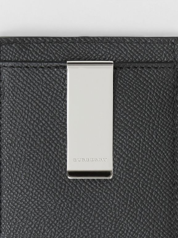 Grainy Leather Money Clip Card Case in Black - Men | Burberry United States - cell image 1