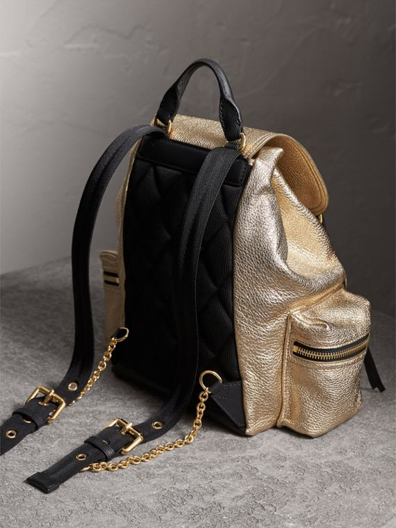 The Medium Rucksack in Metallic Deerskin in Nude Gold - Women | Burberry - cell image 3