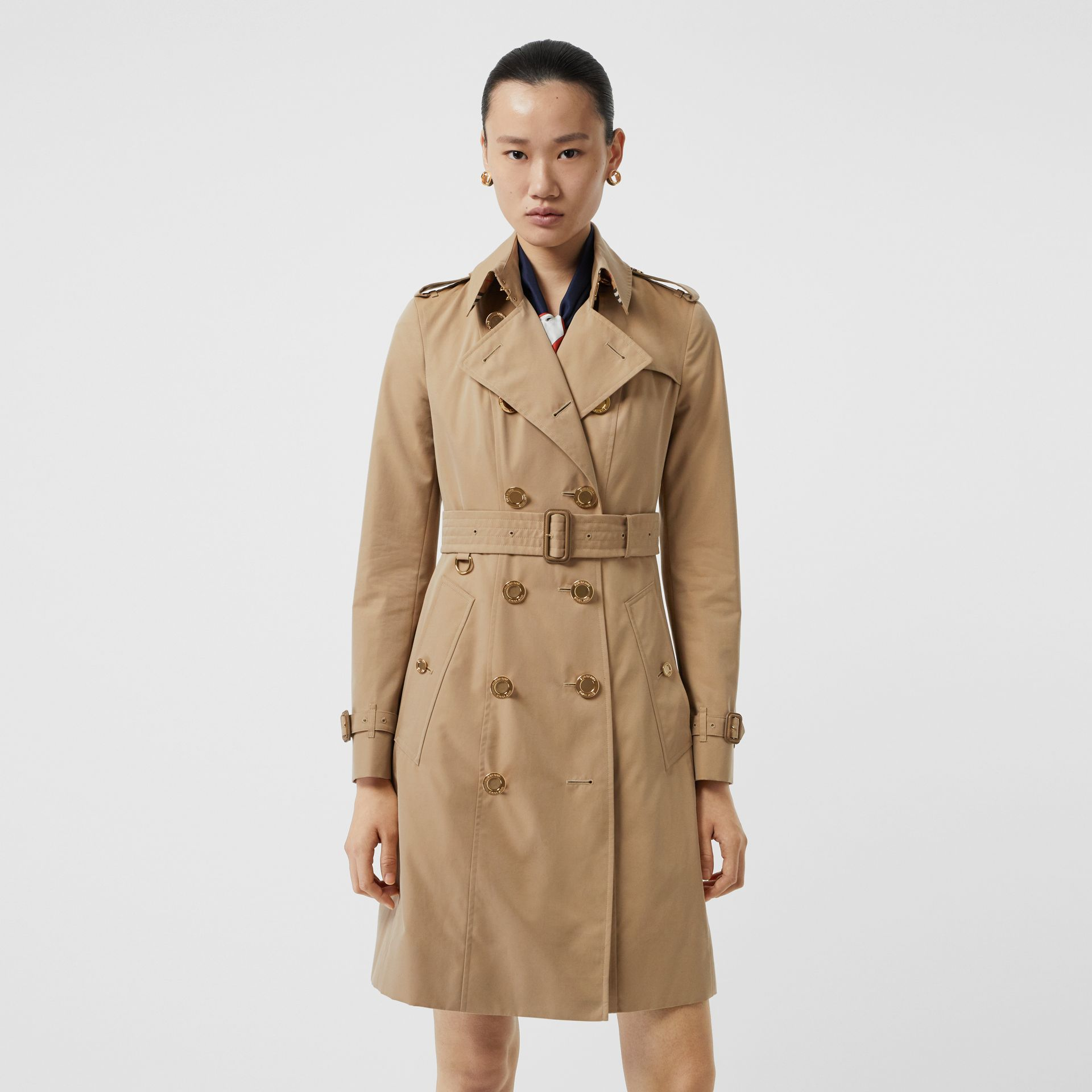 Gold Button Cotton Gabardine Trench Coat in Honey - Women | Burberry - gallery image 6
