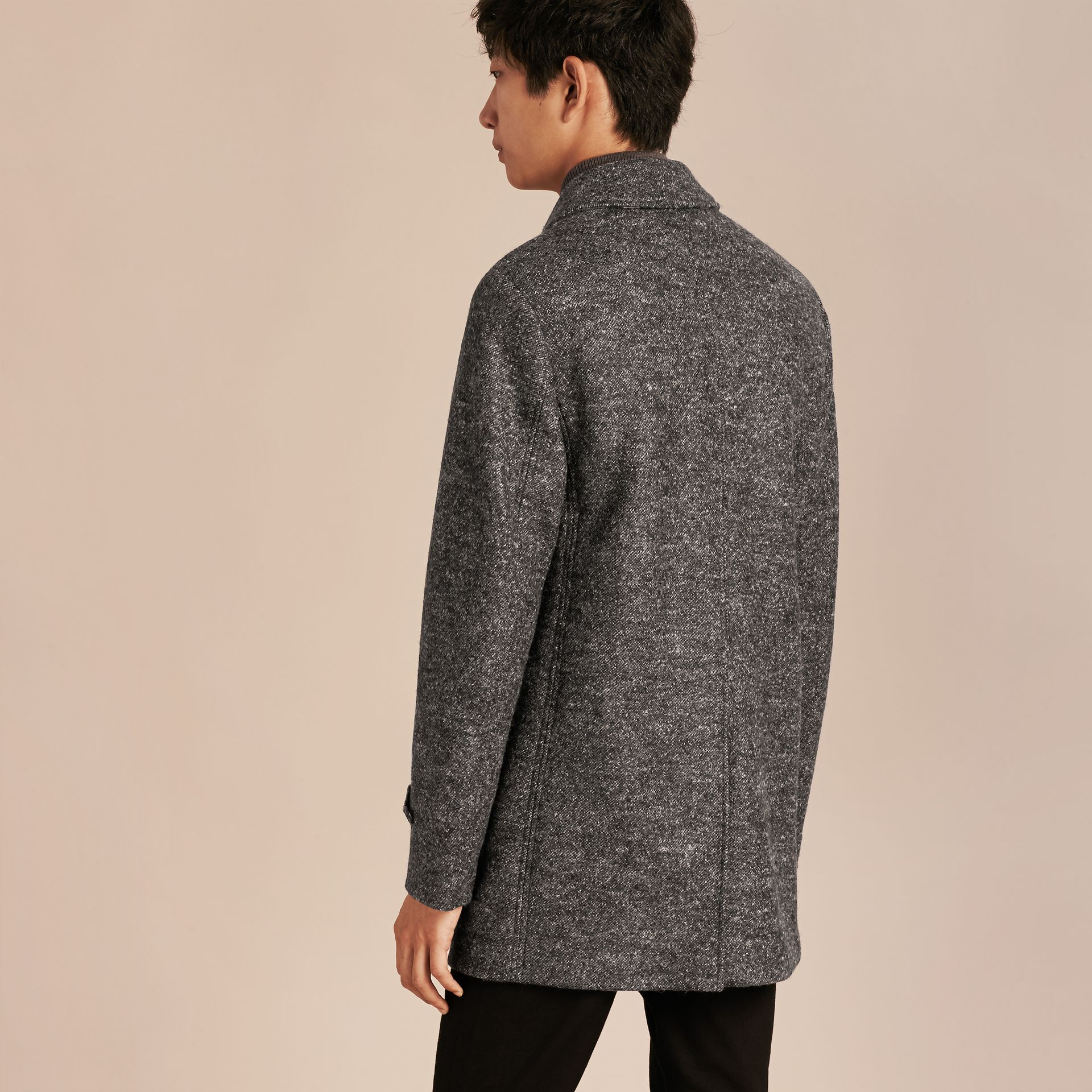 Mid grey melange Brushed Melange Wool Car Coat - gallery image 3