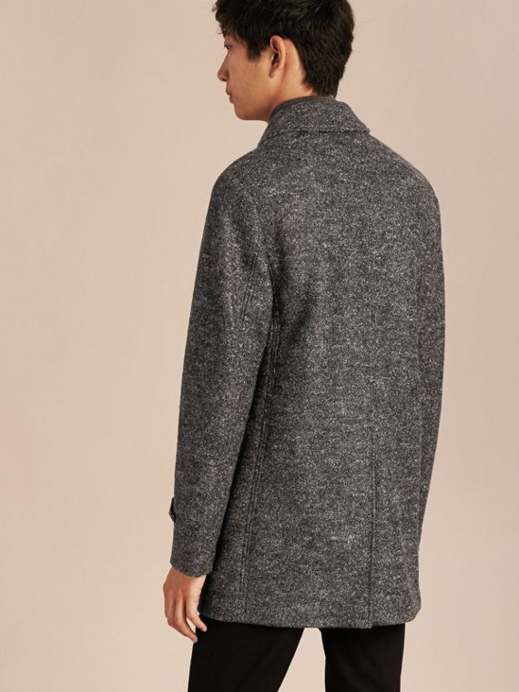 Mid grey melange Brushed Melange Wool Car Coat - cell image 2