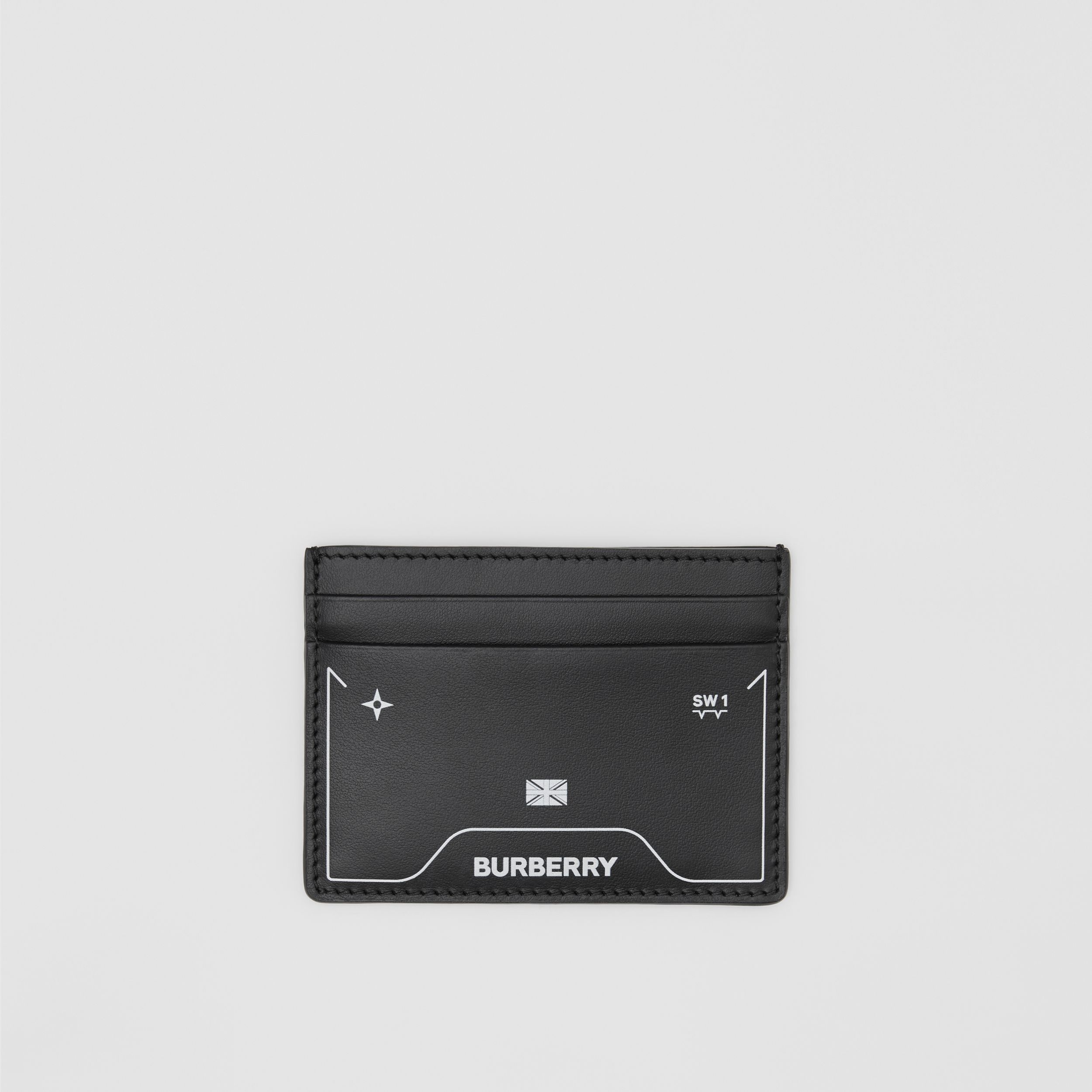 Symbol Print Leather Card Case in Black - Men | Burberry - 1