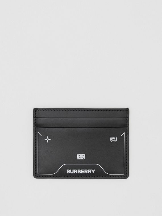Symbol Print Leather Card Case in Black