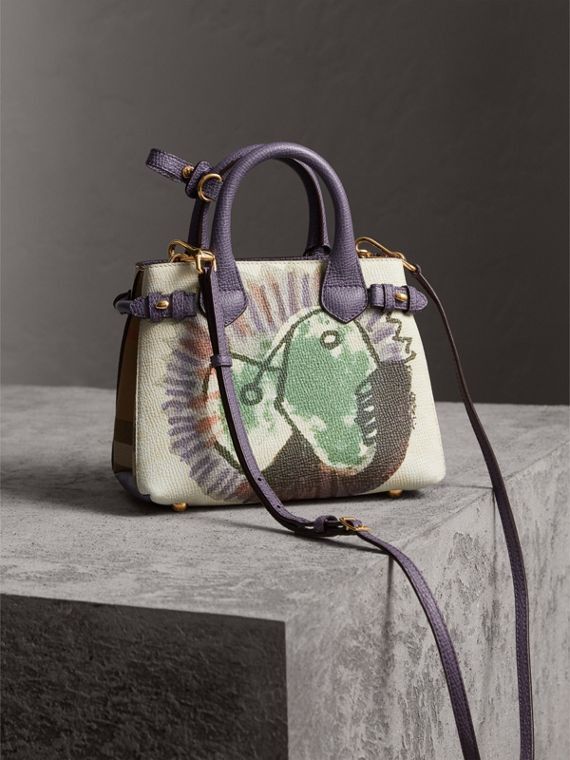 The Baby Banner in Leather with Pallas Heads Print in Dusty Violet - Women | Burberry - cell image 3