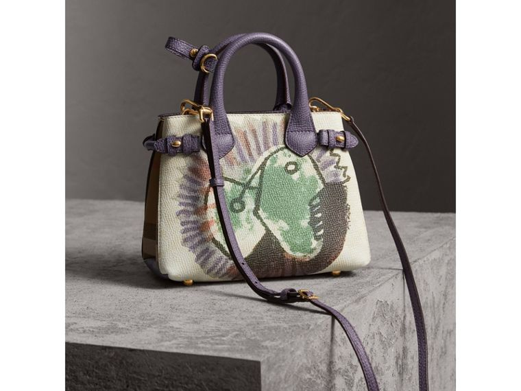 The Baby Banner in Leather with Pallas Heads Print in Dusty Violet - Women | Burberry Australia - cell image 4