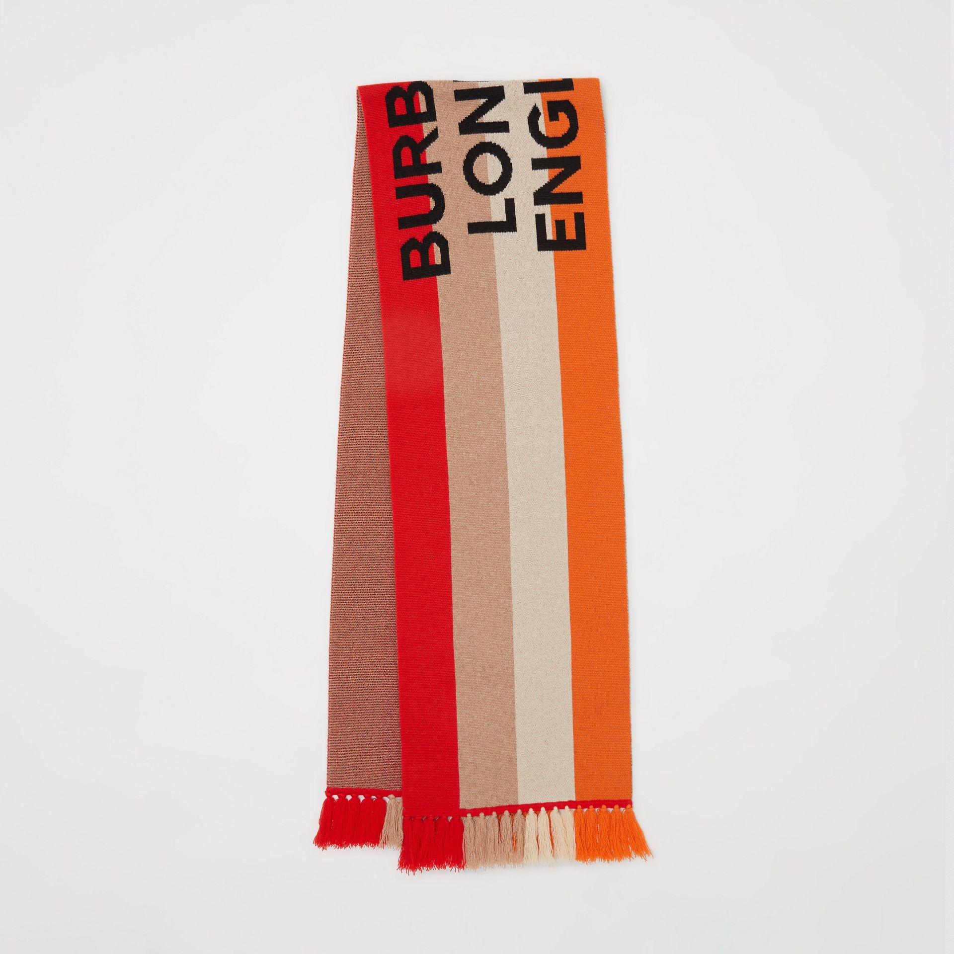 Logo Detail Striped Cashmere Jacquard Scarf in Bright Orange | Burberry United Kingdom - gallery image 0