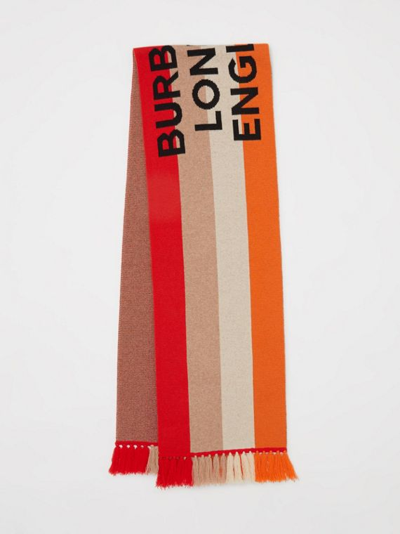 Logo Detail Striped Cashmere Jacquard Scarf in Bright Orange