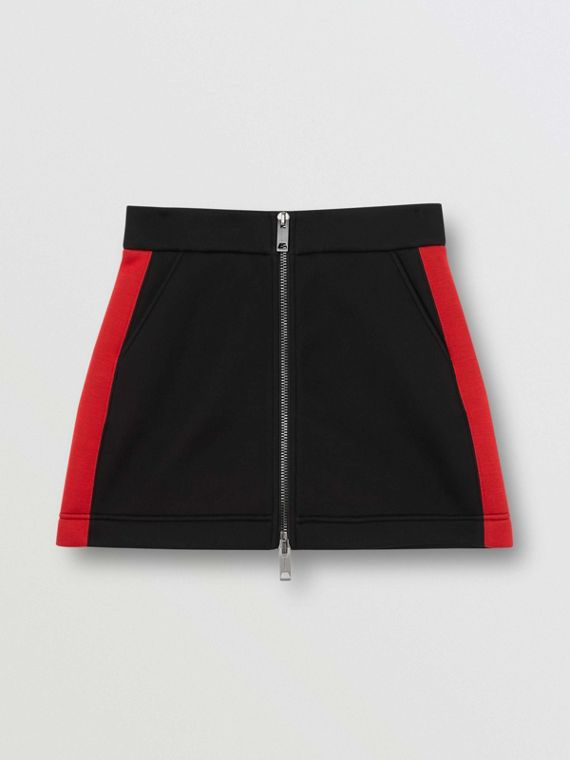 Logo Detail Neoprene Mini Skirt in Black