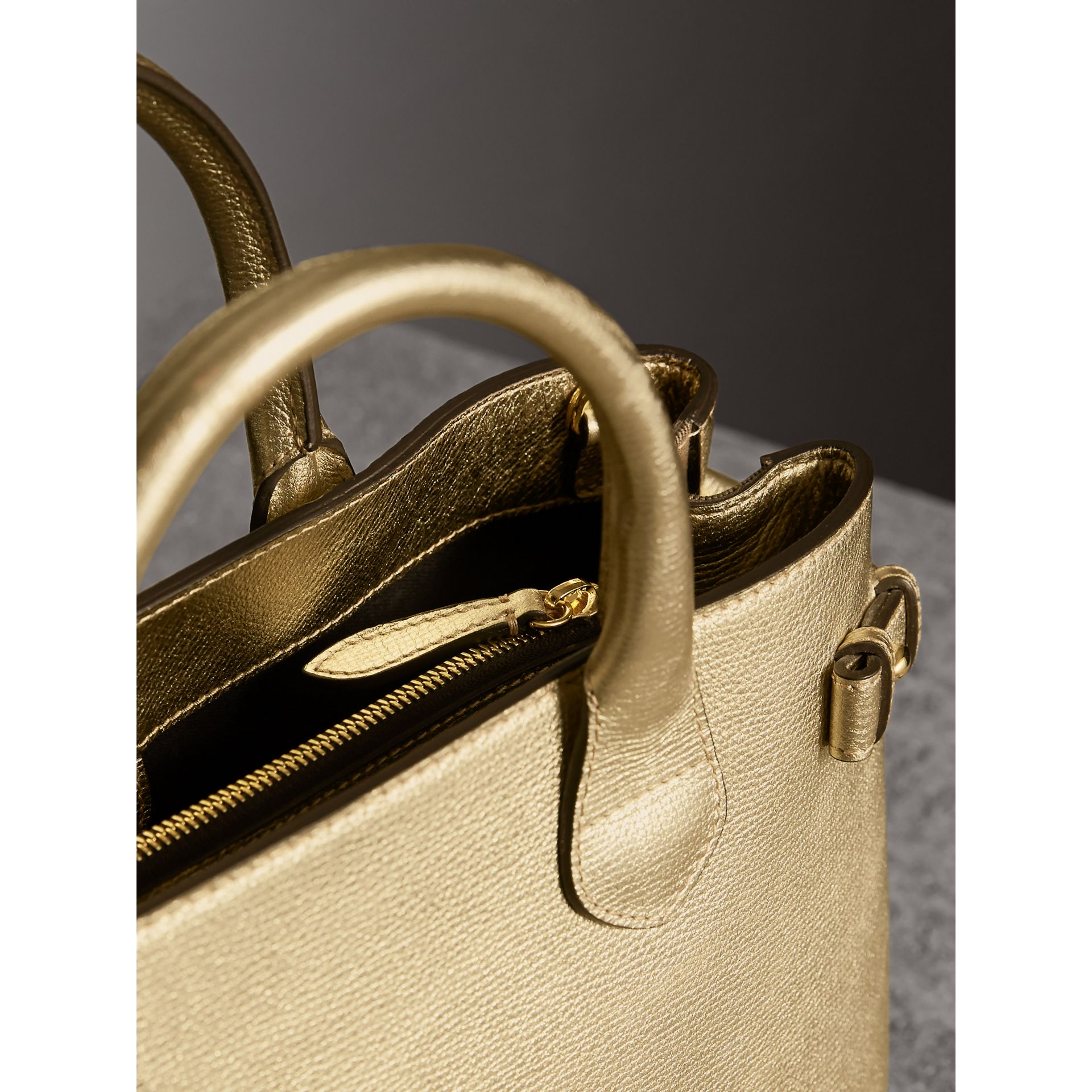 The Medium Banner in Leather and House Check in Gold - Women | Burberry United States - gallery image 6
