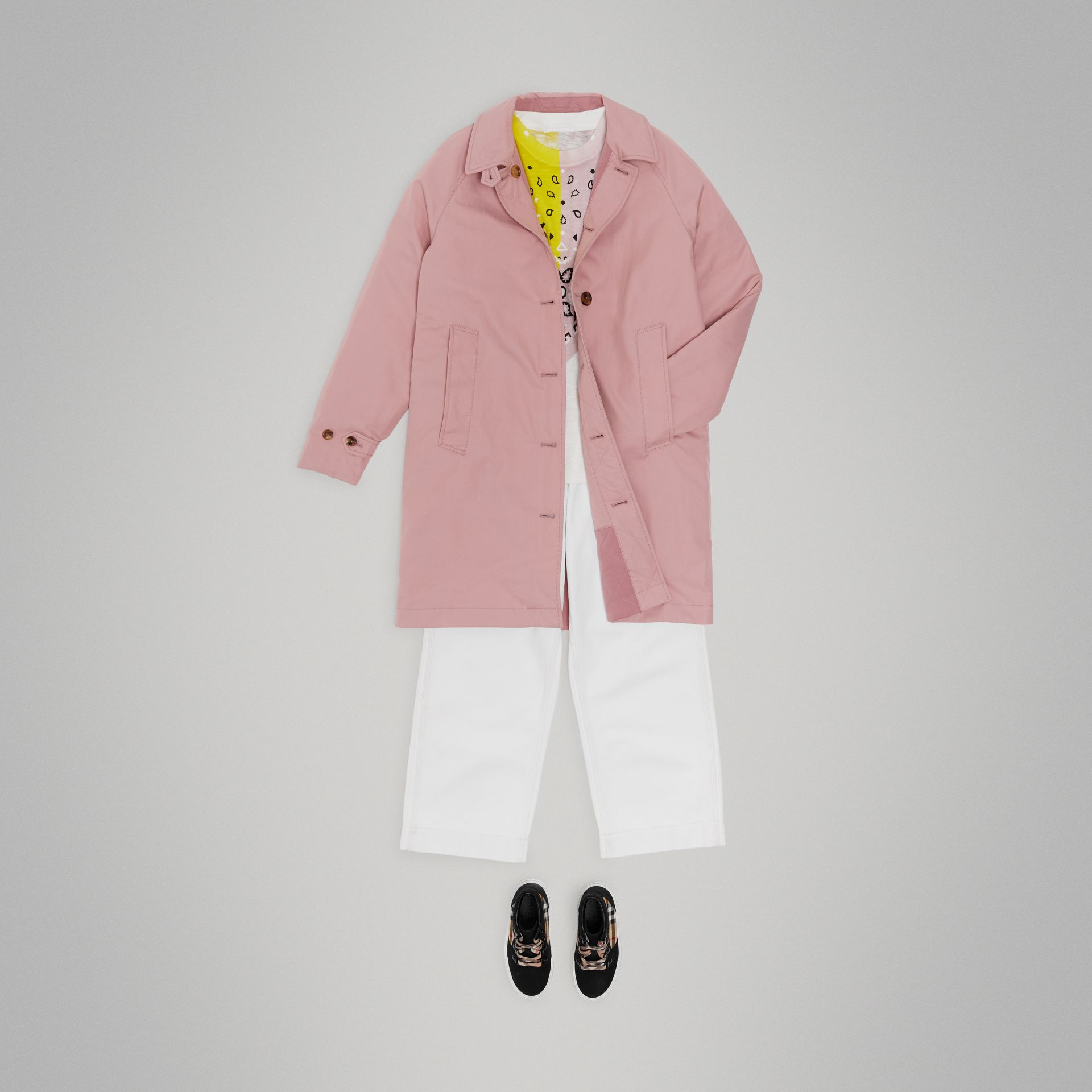 Reversible Tropical Gabardine Car Coat in Chalk Pink | Burberry United States - gallery image 2