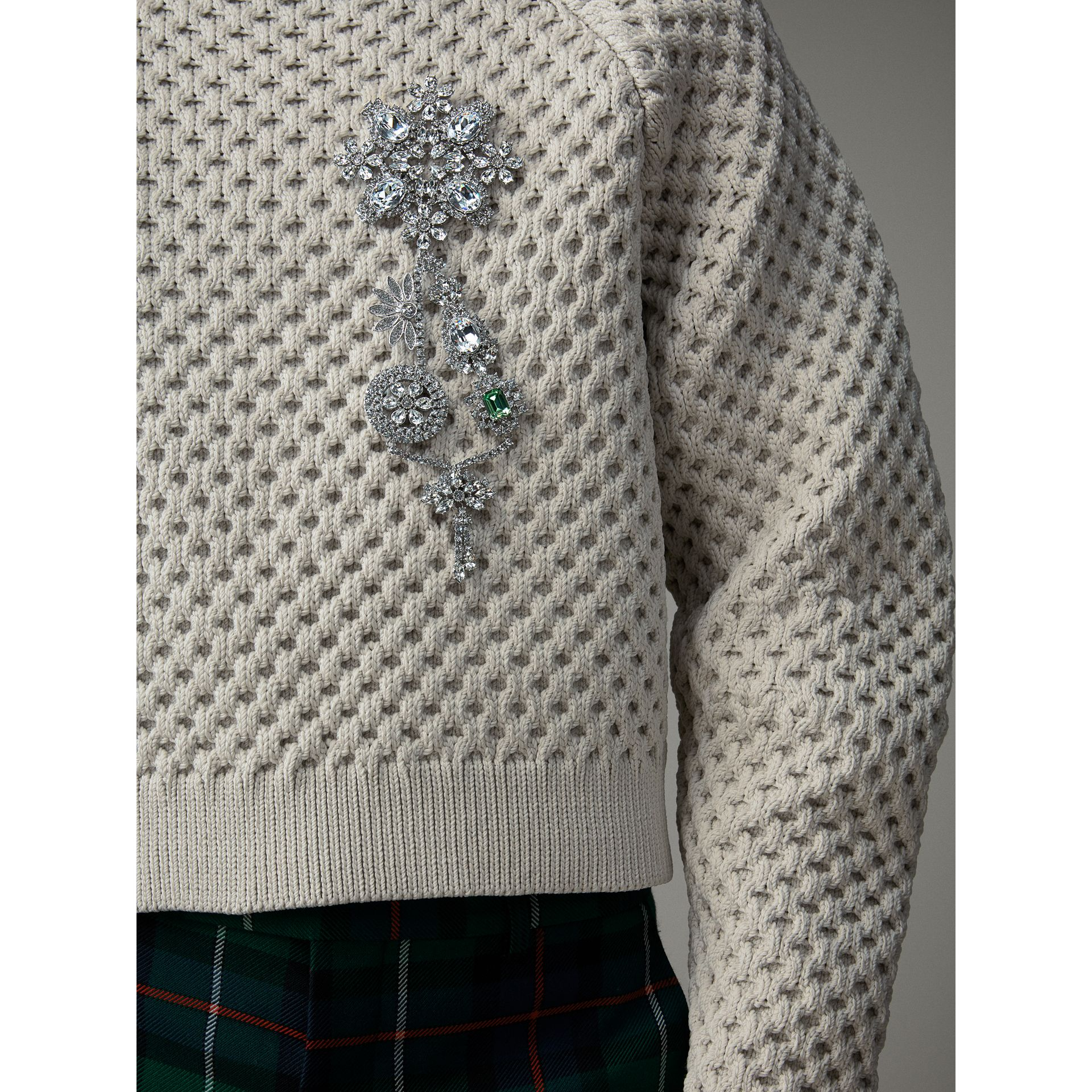 Honeycomb-stitch Cropped Sculptural Sweater in Chalk Grey - Men | Burberry United Kingdom - gallery image 1
