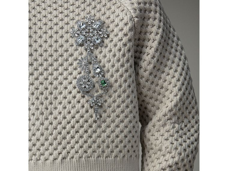 Honeycomb-stitch Cropped Sculptural Sweater in Chalk Grey - Men | Burberry United Kingdom - cell image 1