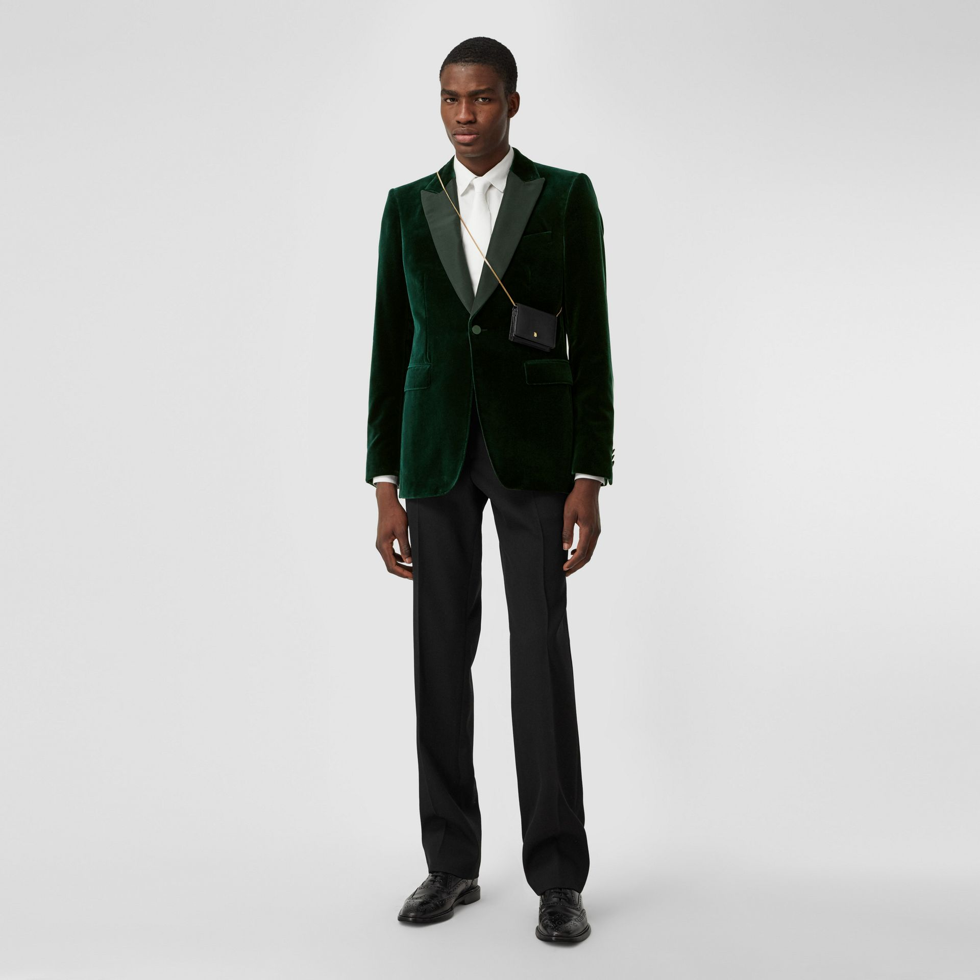English Fit Silk Trim Velvet Tailored Jacket in Dark Pine Green - Men | Burberry Hong Kong S.A.R - gallery image 6