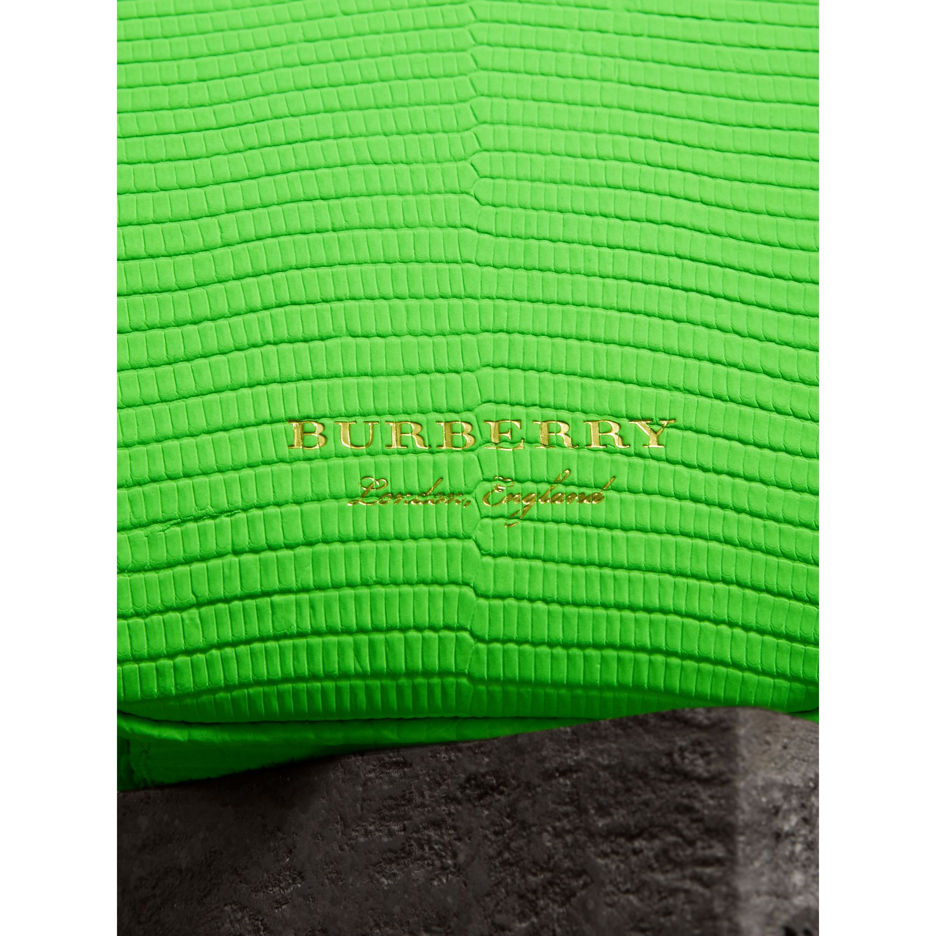 Mini Two-tone Lizard Metal Frame Clutch Bag in Neon Green - Women | Burberry - gallery image 1