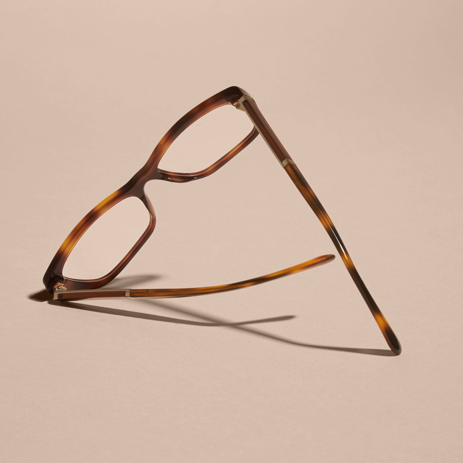 Check Detail Rectangular Cat-eye Optical Frames Light Russet Brown - gallery image 5
