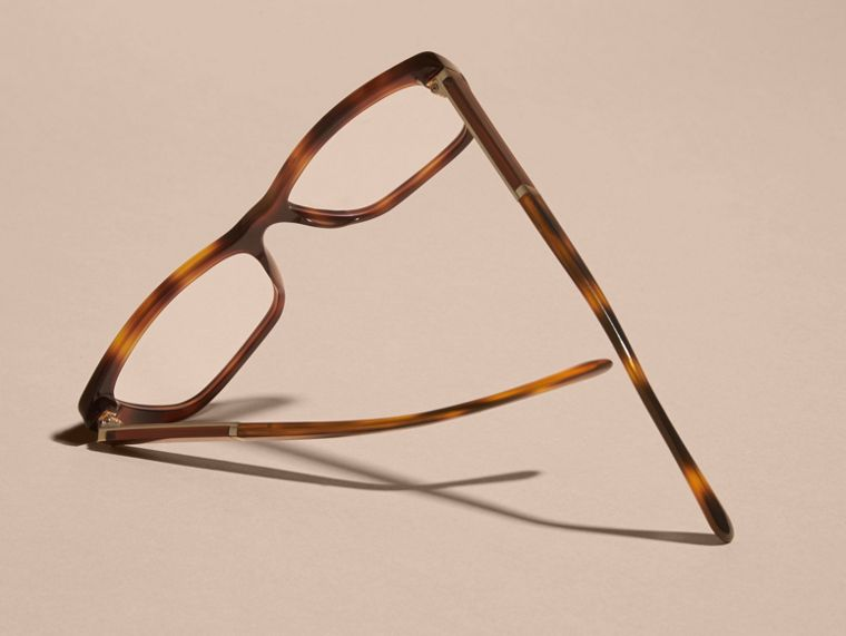 Check Detail Rectangular Cat-eye Optical Frames Light Russet Brown - cell image 4