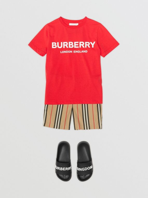 Logo Print Cotton T-shirt in Bright Red
