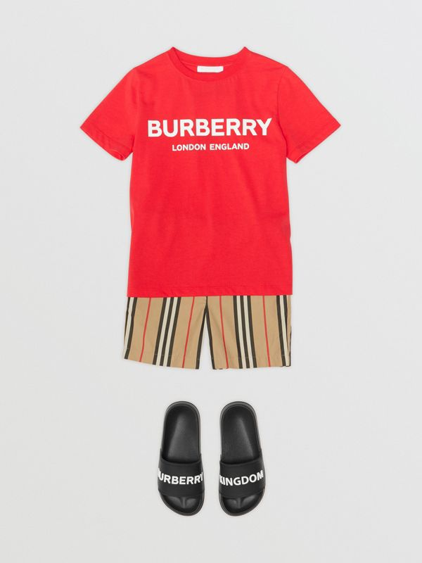 Logo Print Cotton T-shirt in Bright Red | Burberry Canada - cell image 2
