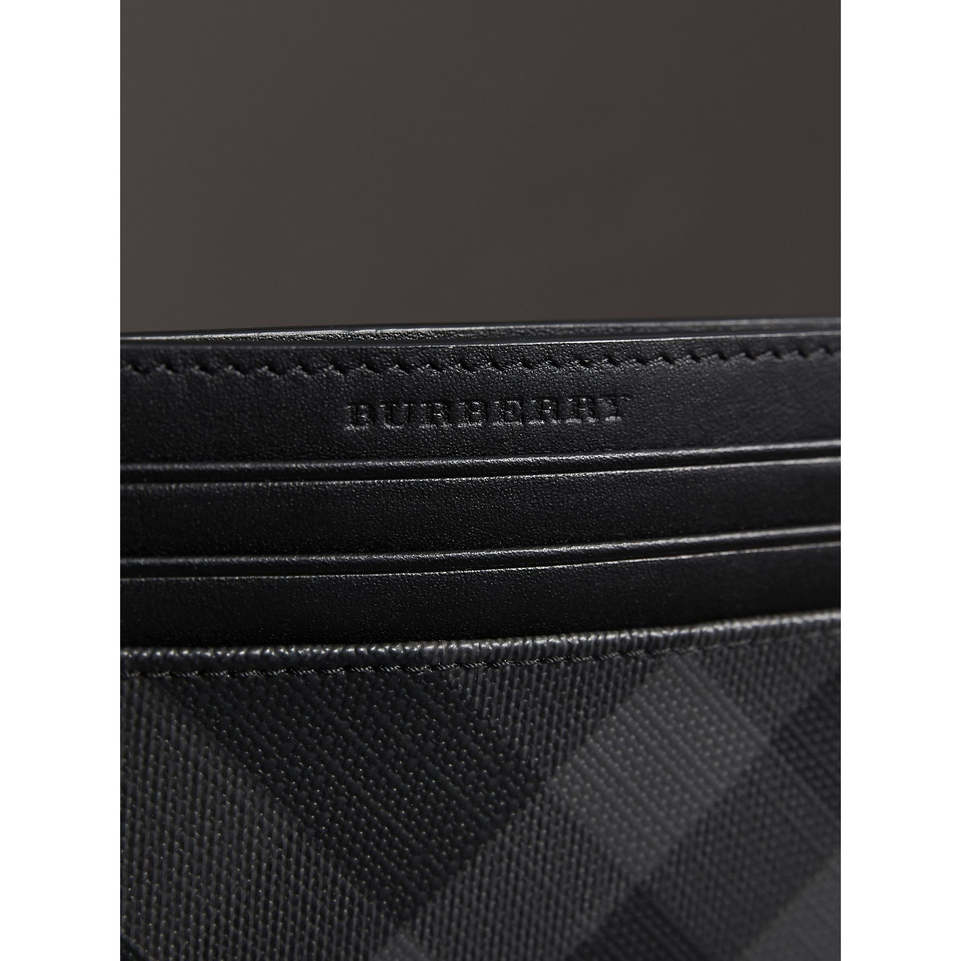 London Check Card Case in Charcoal/black - Men | Burberry United Kingdom - gallery image 1