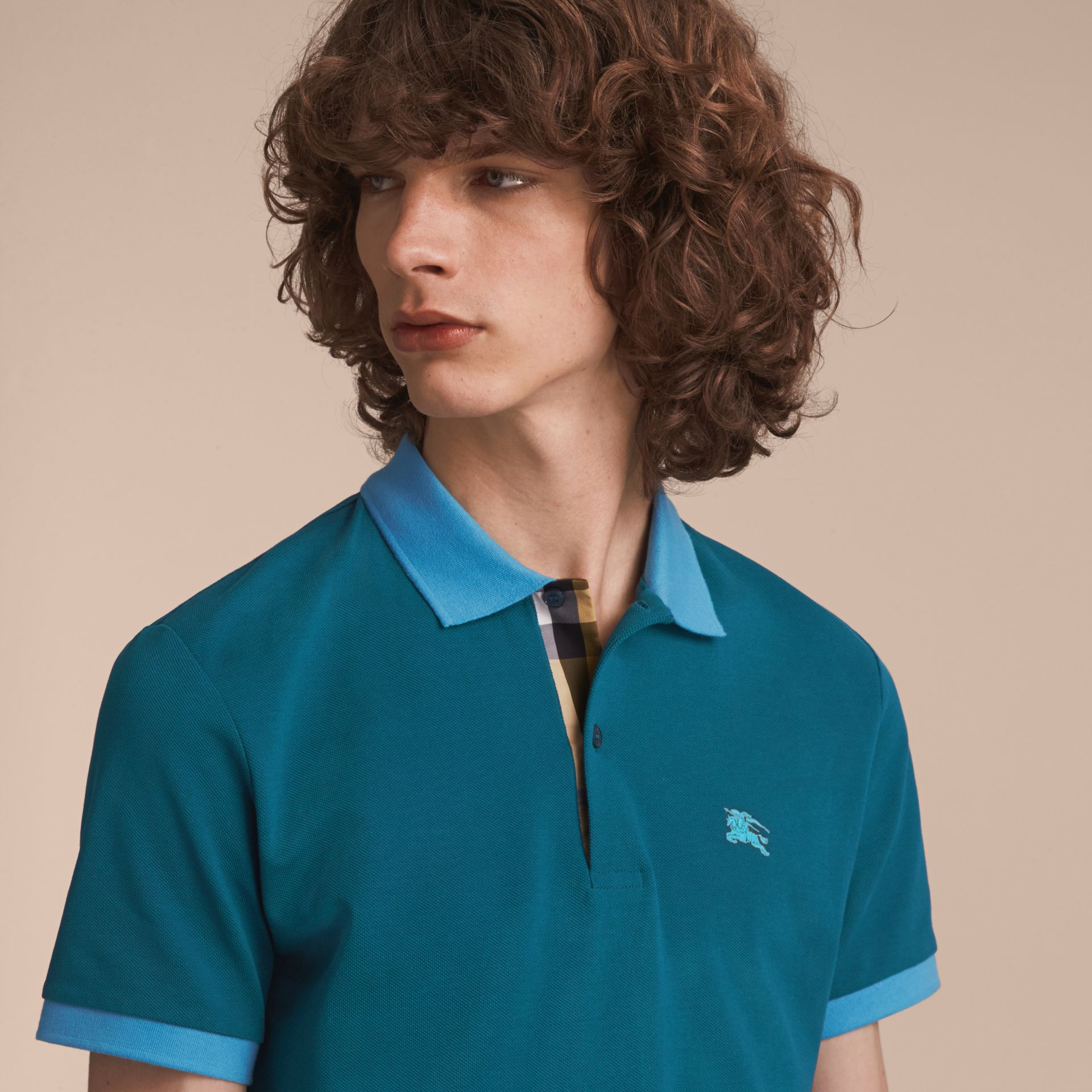Two-tone Check Placket Cotton Piqué Polo Shirt in Mineral Blue - gallery image 5