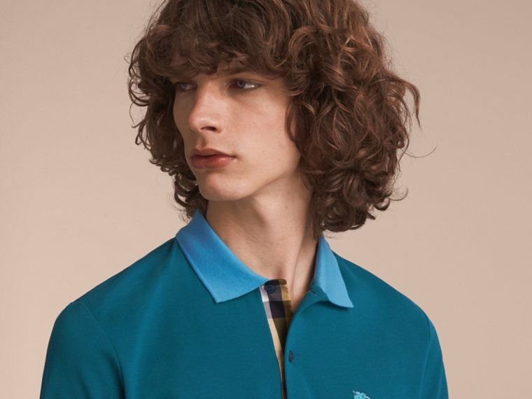 Two-tone Check Placket Cotton Piqué Polo Shirt in Mineral Blue - cell image 4