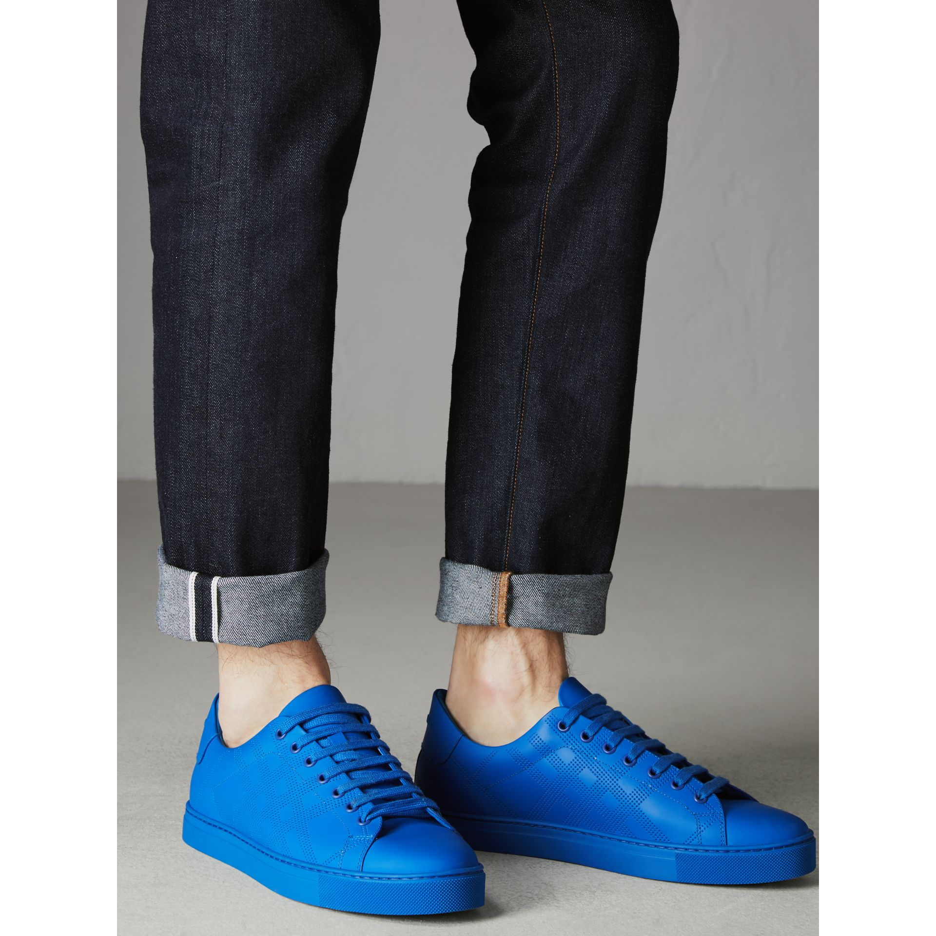 Perforated Check Leather Sneakers in Bright Sky Blue - Men | Burberry United Kingdom - gallery image 2
