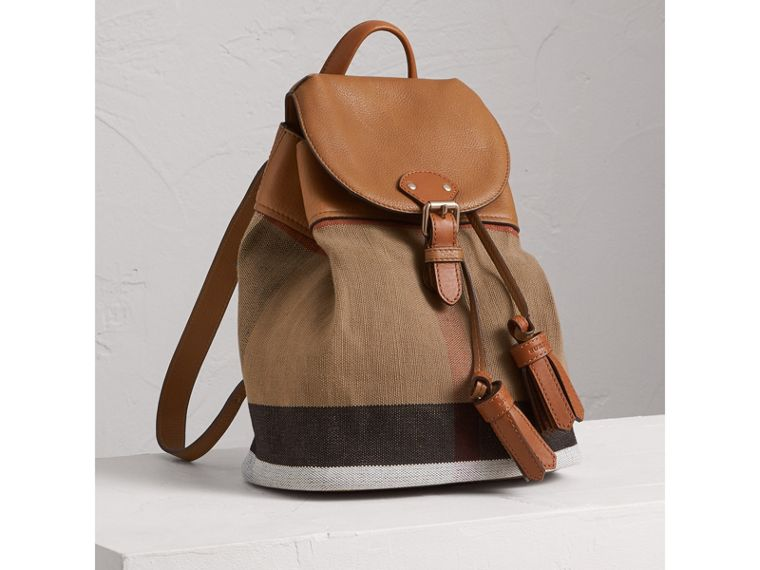 Canvas Check Backpack in Sand | Burberry - cell image 4