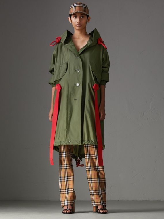 Tape Detail Showerproof Hooded Parka in Light Olive