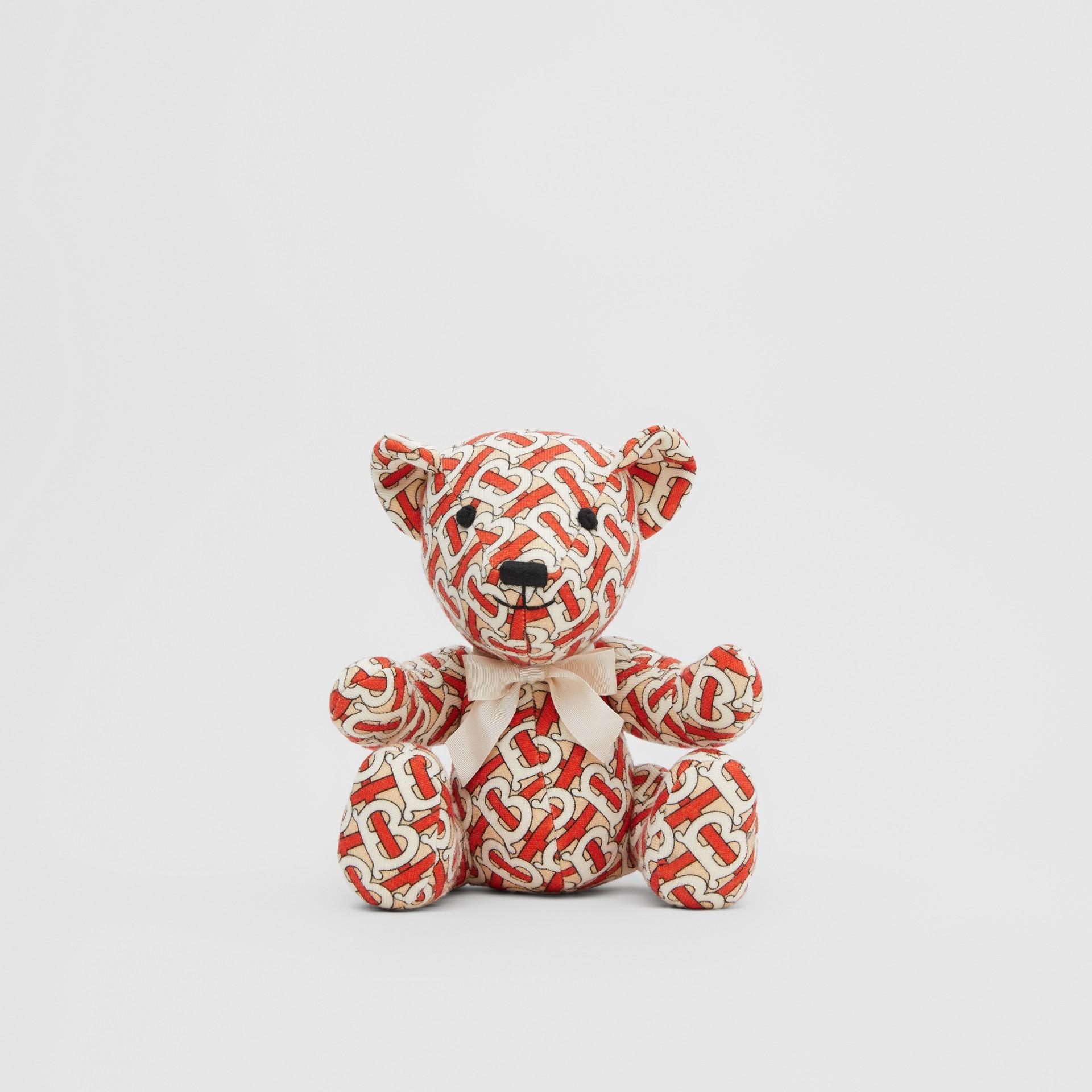Monogram Print Merino Wool Thomas Bear in Vermilion Red - Children | Burberry United Kingdom - gallery image 0