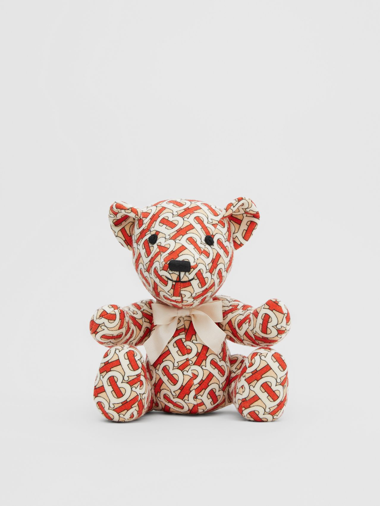 Monogram Print Merino Wool Thomas Bear in Vermilion Red