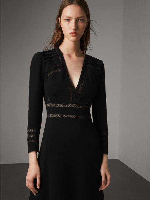Lace Insert Fitted Dress - Women | Burberry