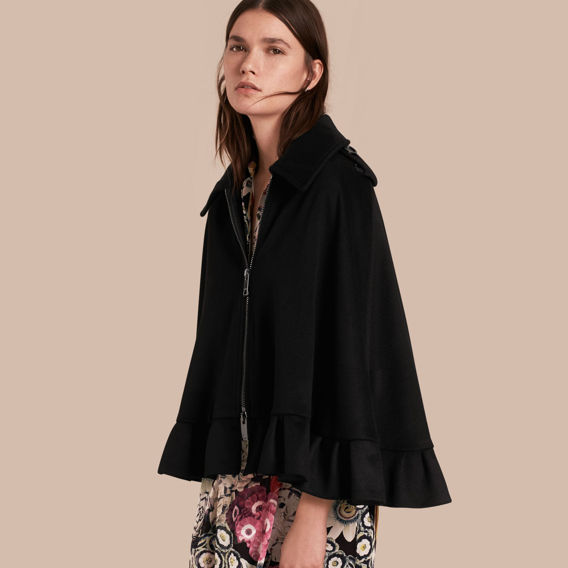 Black Ruffle Detail Cashmere Cape - gallery image 1