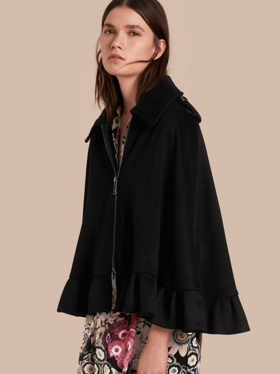 Ruffle Detail Cashmere Cape - Women | Burberry