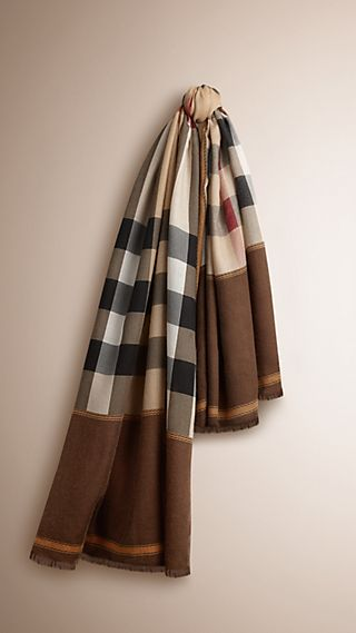 Contrast Border Horseferry Check Cashmere Scarf