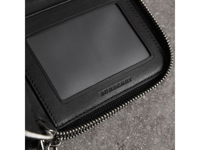 London Check Travel Wallet in Charcoal/black - Men | Burberry - cell image 1