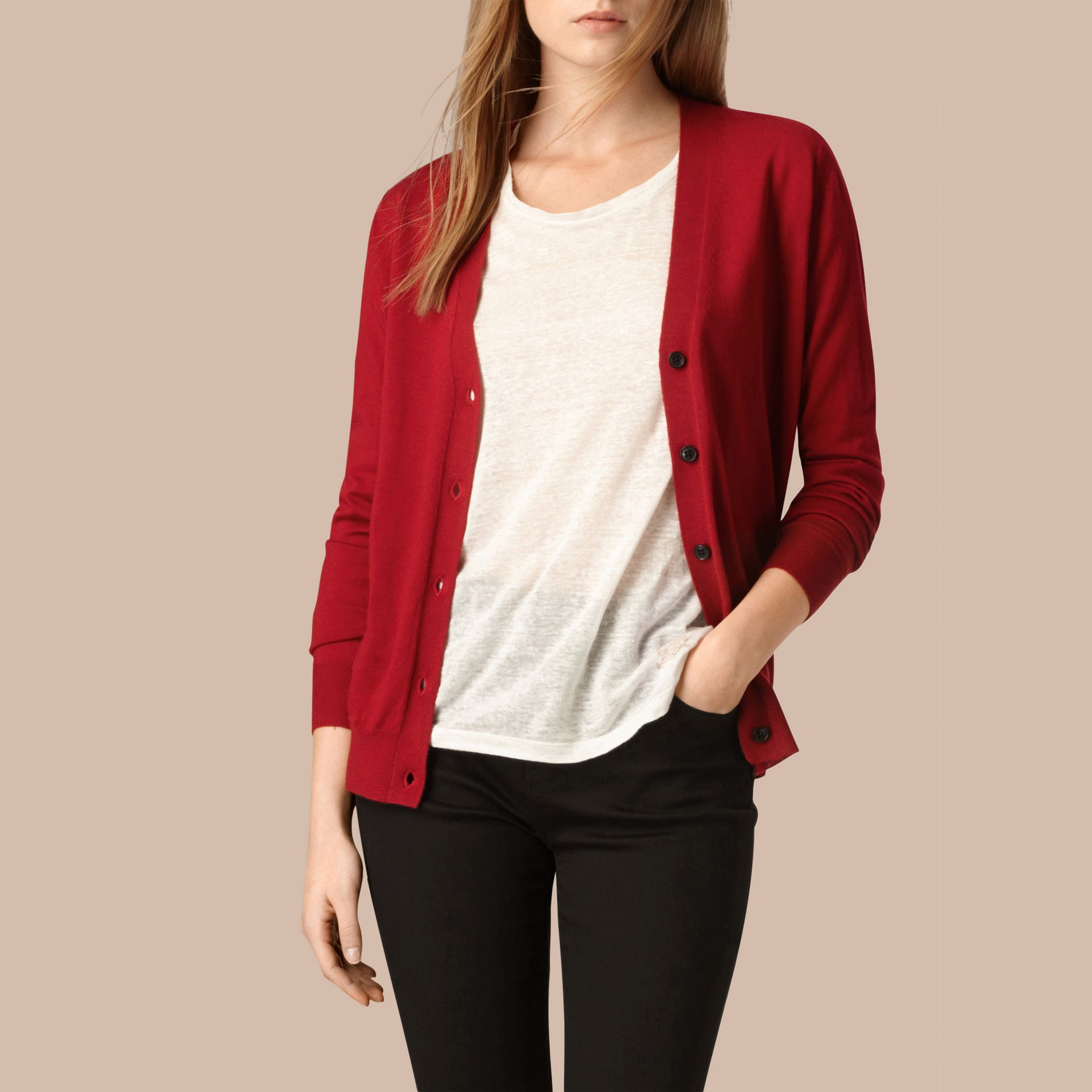 Check Detail Merino Wool Cardigan in Parade Red - gallery image 1