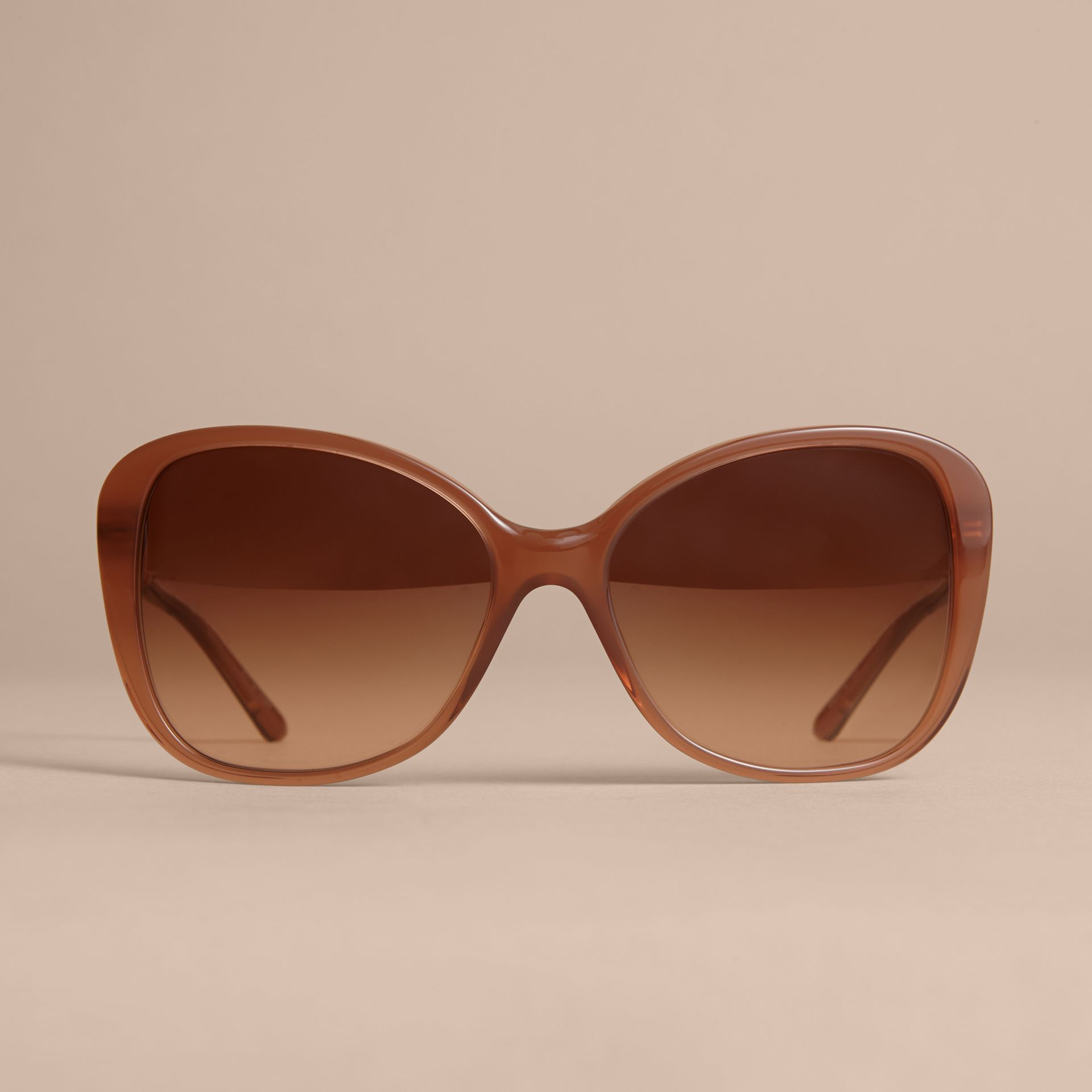 Check Detail Butterfly Frame Sunglasses Nude - gallery image 3