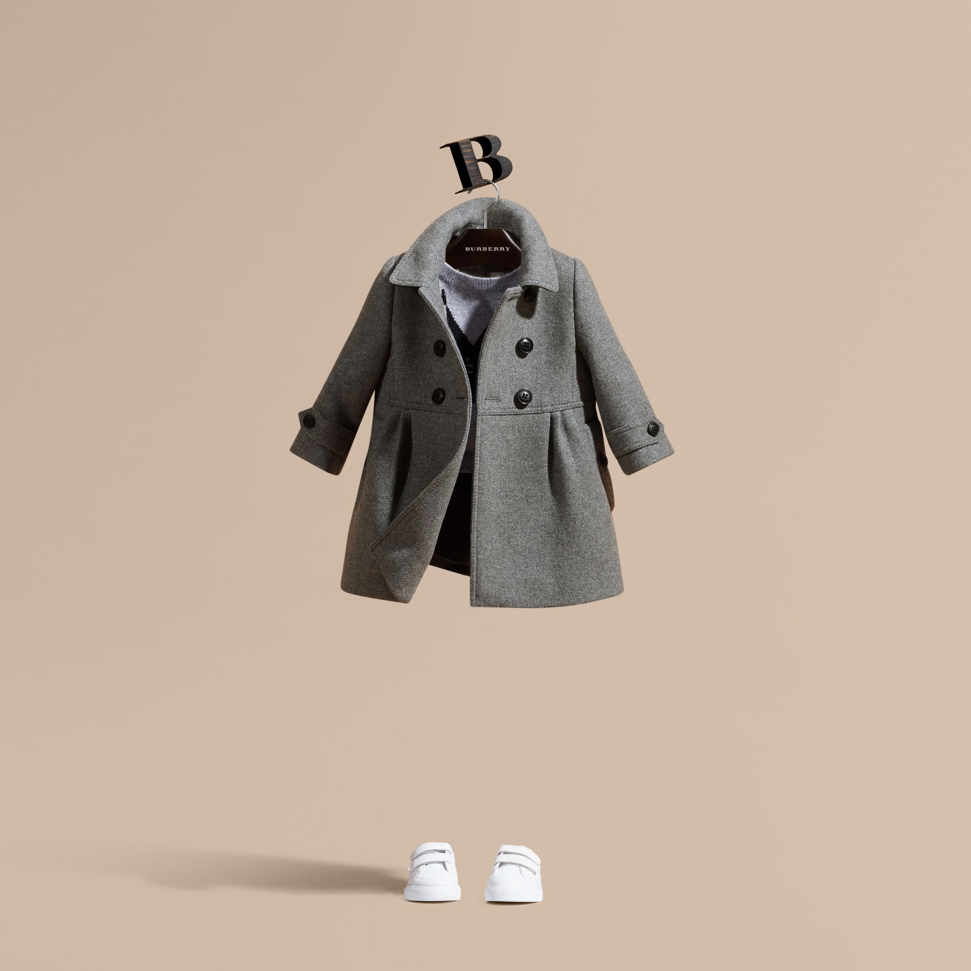 Steel grey melange Tailored Wool Cashmere Blend Coat - gallery image 1