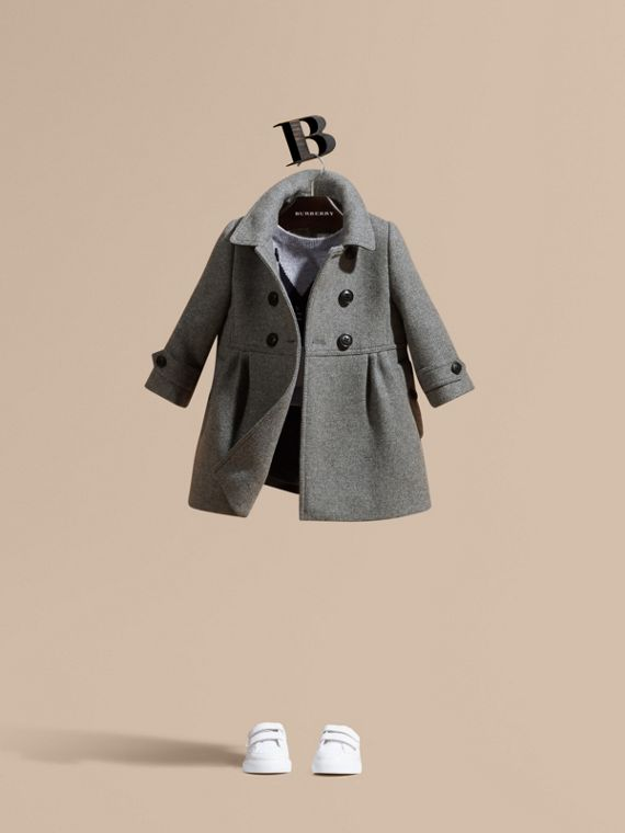 Tailored Wool Cashmere Blend Coat Steel Grey Melange