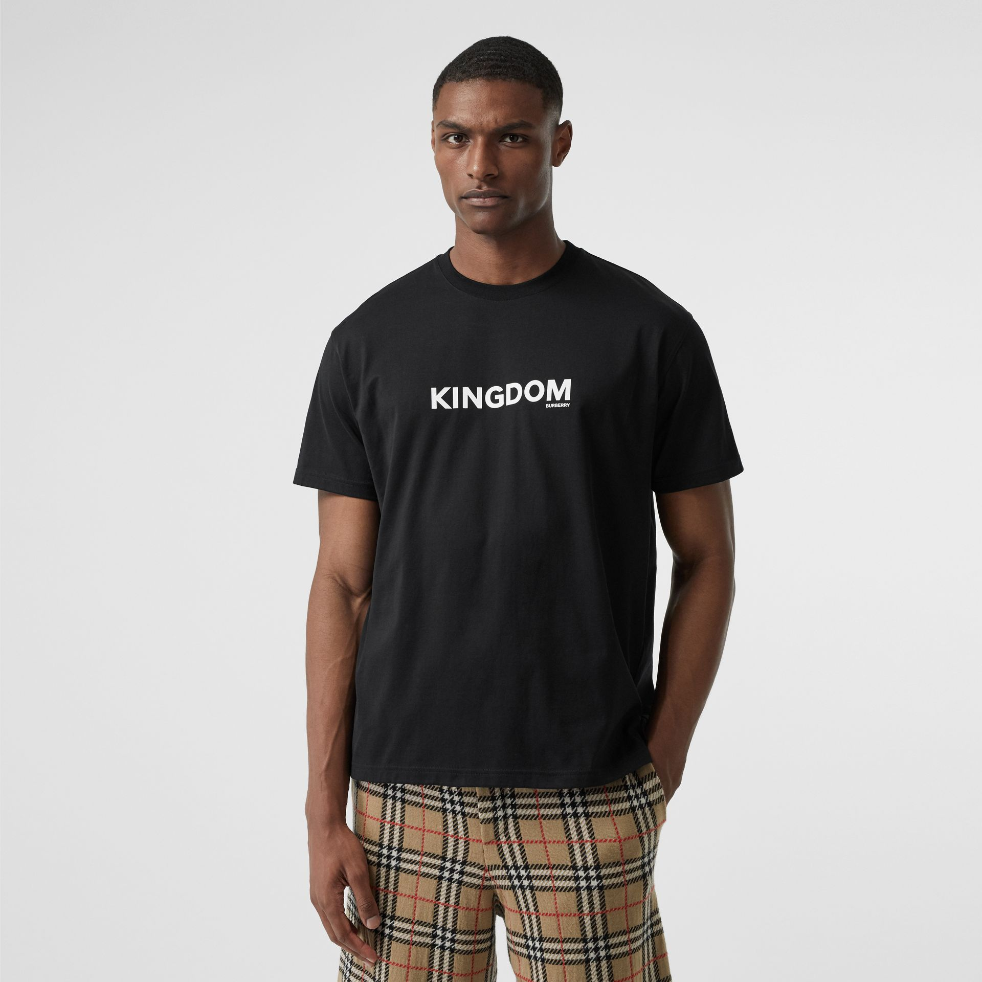 Kingdom Print Cotton T-shirt in Black - Men | Burberry - gallery image 4
