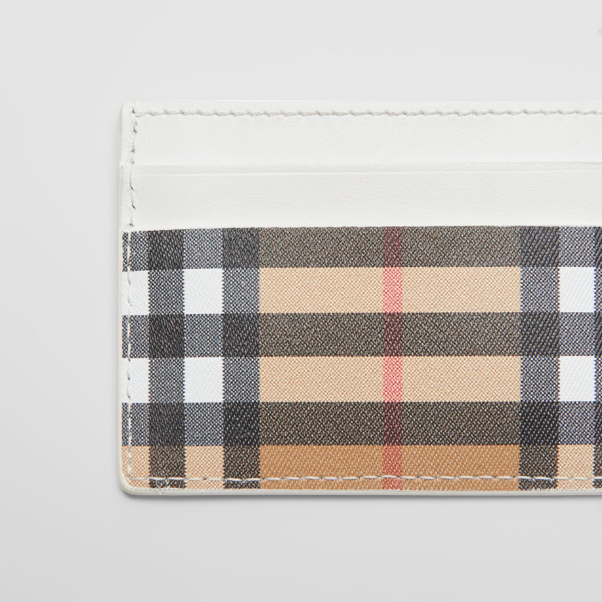 Vintage Check and Leather Card Case in Chalk White | Burberry Australia - gallery image 1