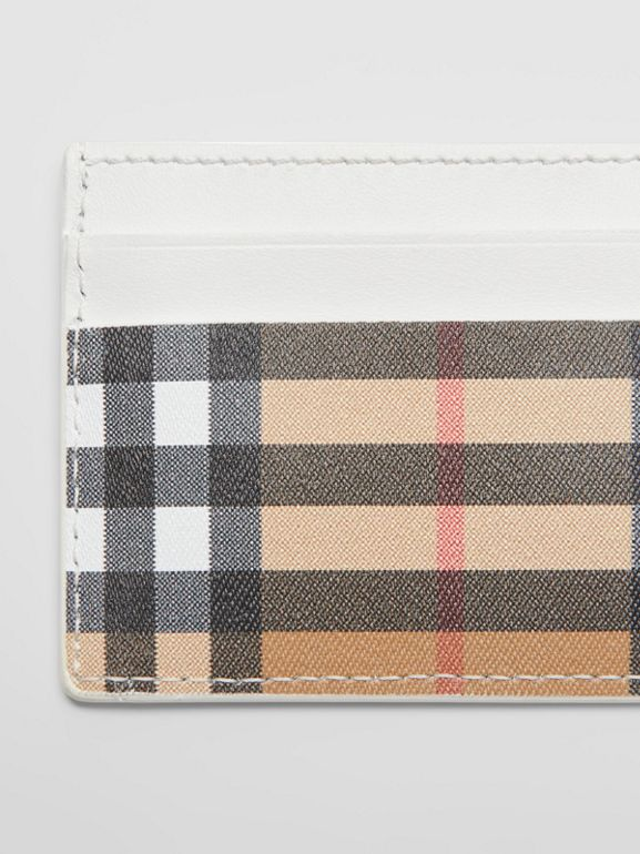 Vintage Check and Leather Card Case in Chalk White | Burberry Australia - cell image 1